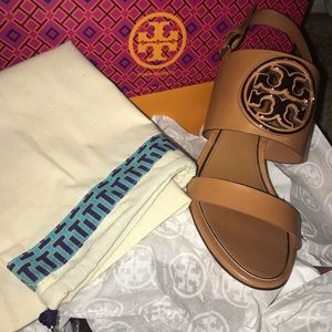 Tory Burch Metal Miller Wedge Sandals 8.5 New